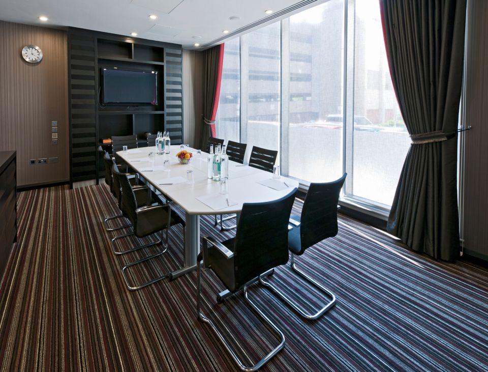 Modern office carpet in striped pattern
