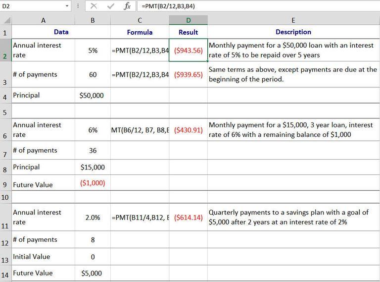 loan calculation excel