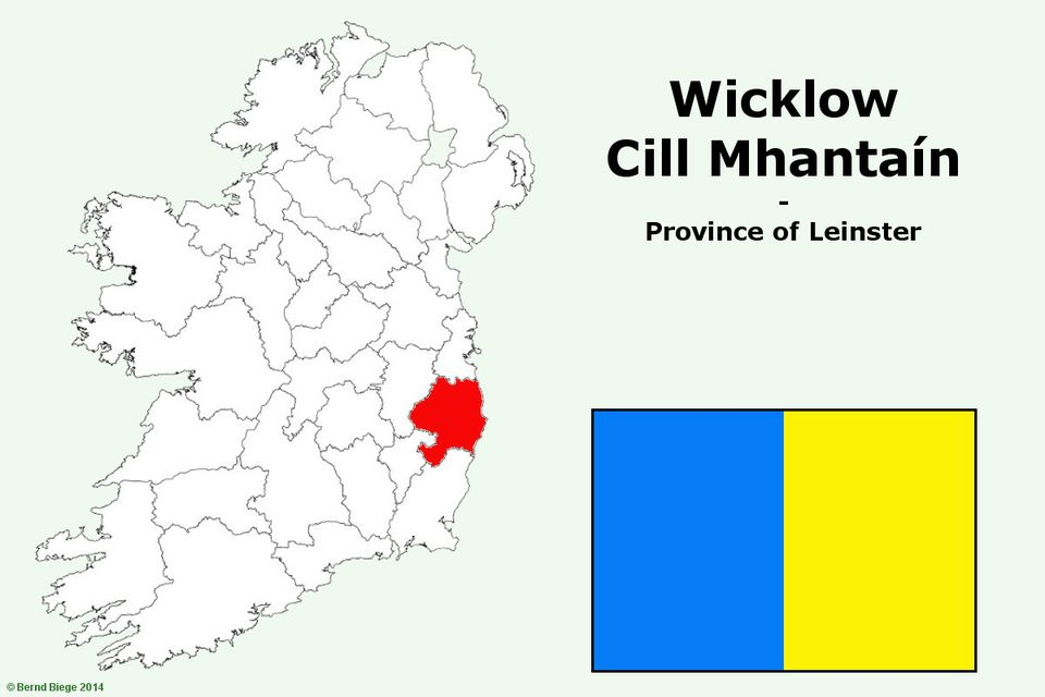 County Wicklow on a Map