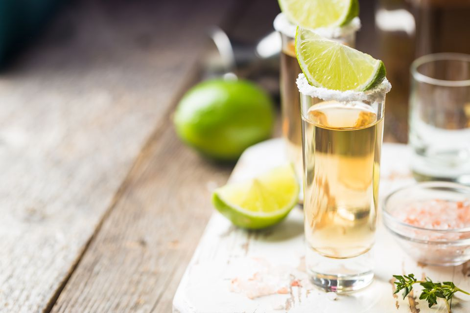 Tequila shot with salt and lime