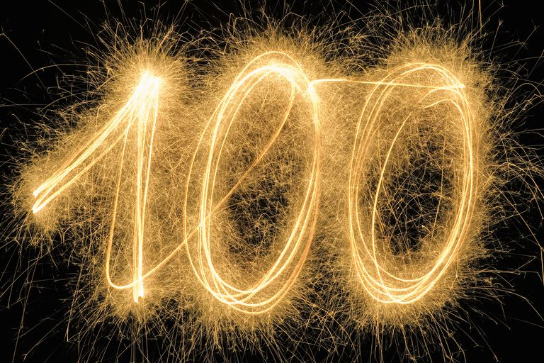 100' drawn with a sparkler