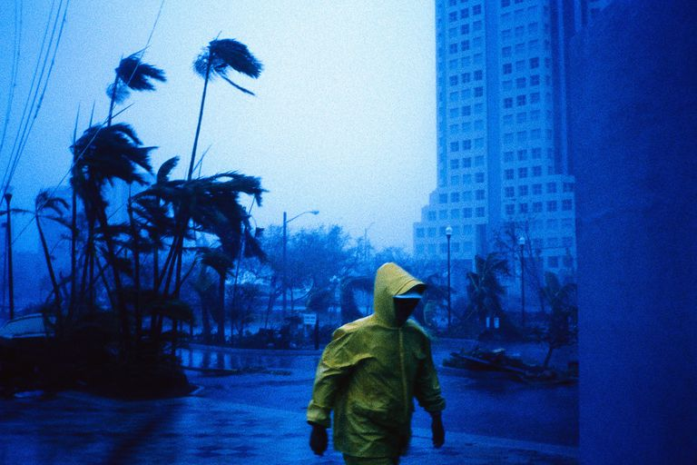 Person Walking in Hurricane Andrew