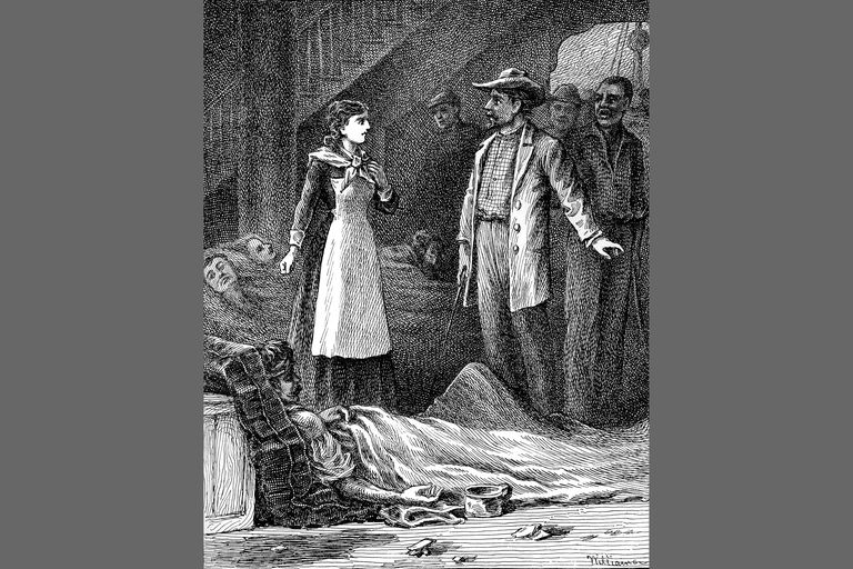 Mary Livermore transporting sick soldiers for the Sanitary Commission