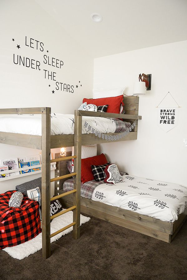 Lumberjack Bedroom Bunk Bed Plans from The Project Girl