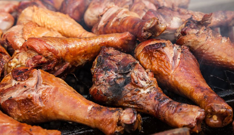 Close-Up Of Turkey Legs On Barbeque Grill
