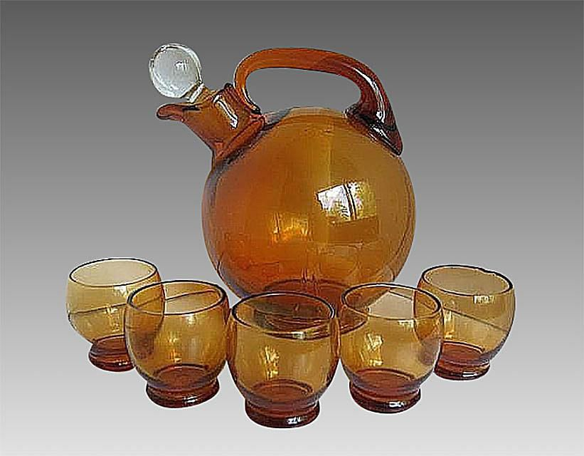 Cambridge Amber Ball Decanter with Glasses