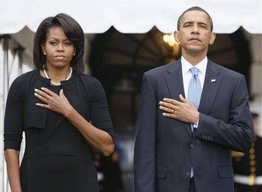 Obama Flag Salute, lefthanded