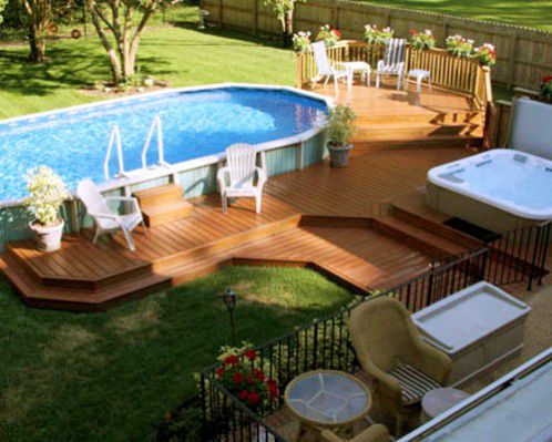 above ground pool with deck - Above Ground Pool Deck Off House