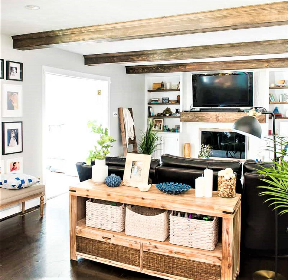 Living Room Makeover with Wood Ceiling Beams