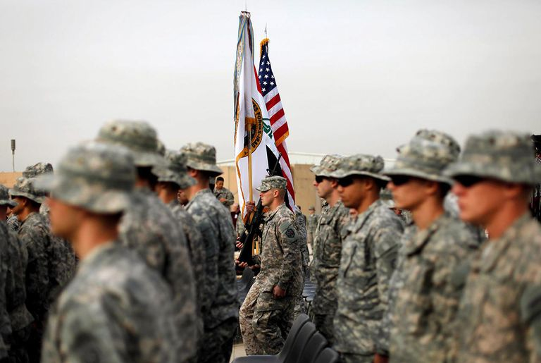 U.S. Military Holds Flag Casing Ceremony In Baghdad As Troops Pullout Of Country