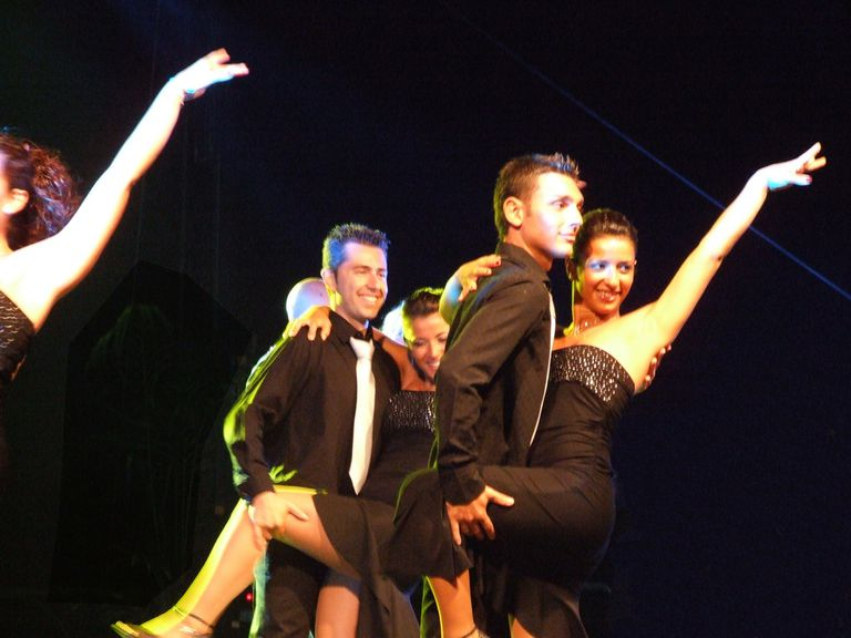 Young couple performing the mambo