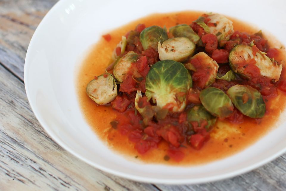 Brussels Spouts with Stewed Tomatoes
