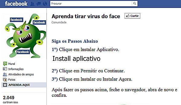 Captura de pantalla página de Facebook del malware