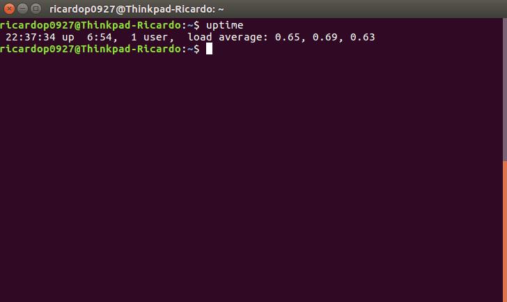 The uptime command in a Ubuntu terminal.