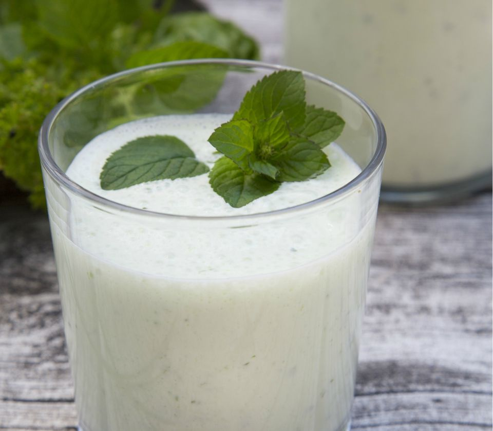 Herbal lassi with bio yogurt and different herbs