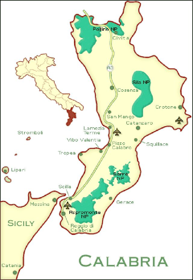 Cities Map and Guide to Calabria Southern Italy