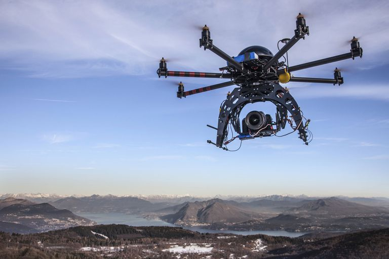A drone equipped with a camera.