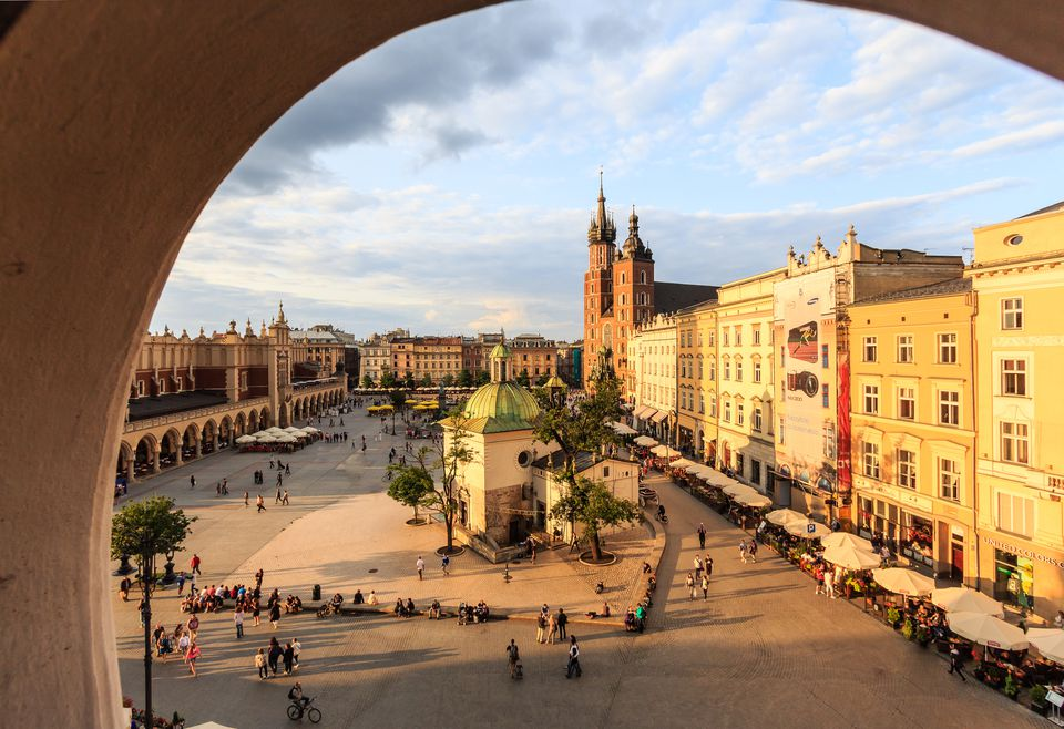 Krakow, main square with St. Mary's basilica