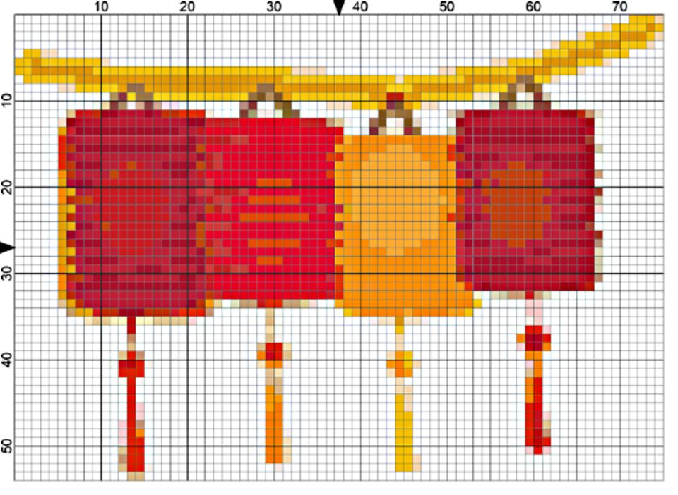 red and gold Chinese lanterns needlepoint chart