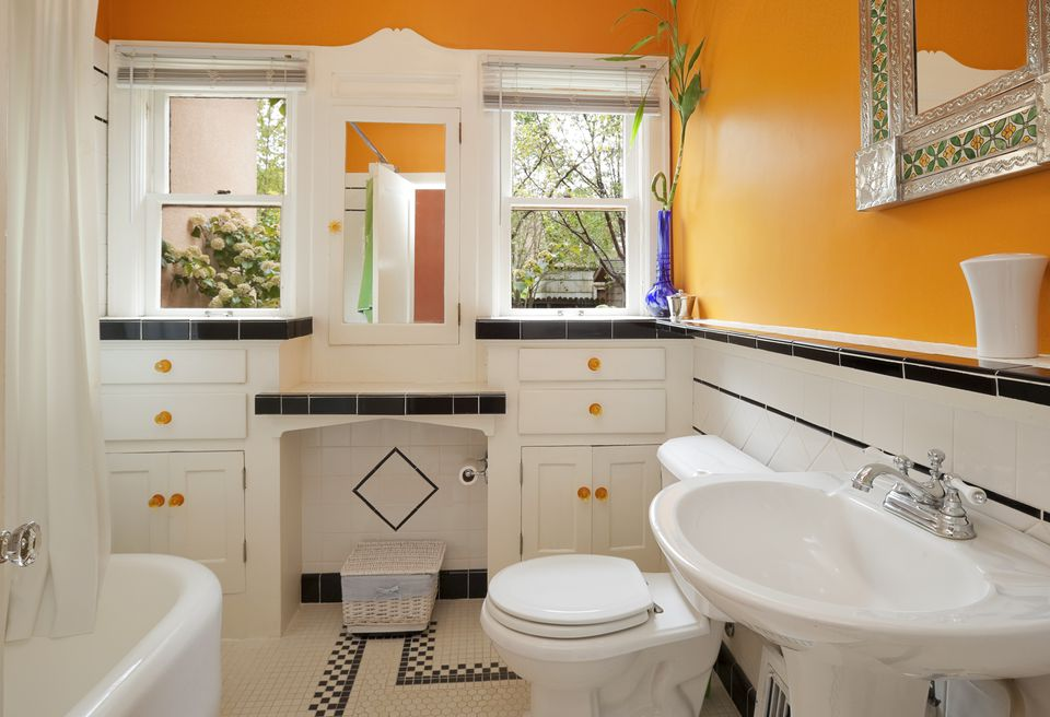 Bright orange and white colorful modern bathroom