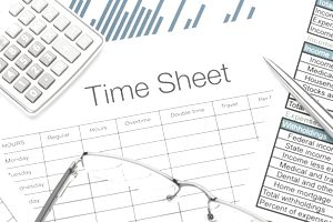 A time sheet for pay day