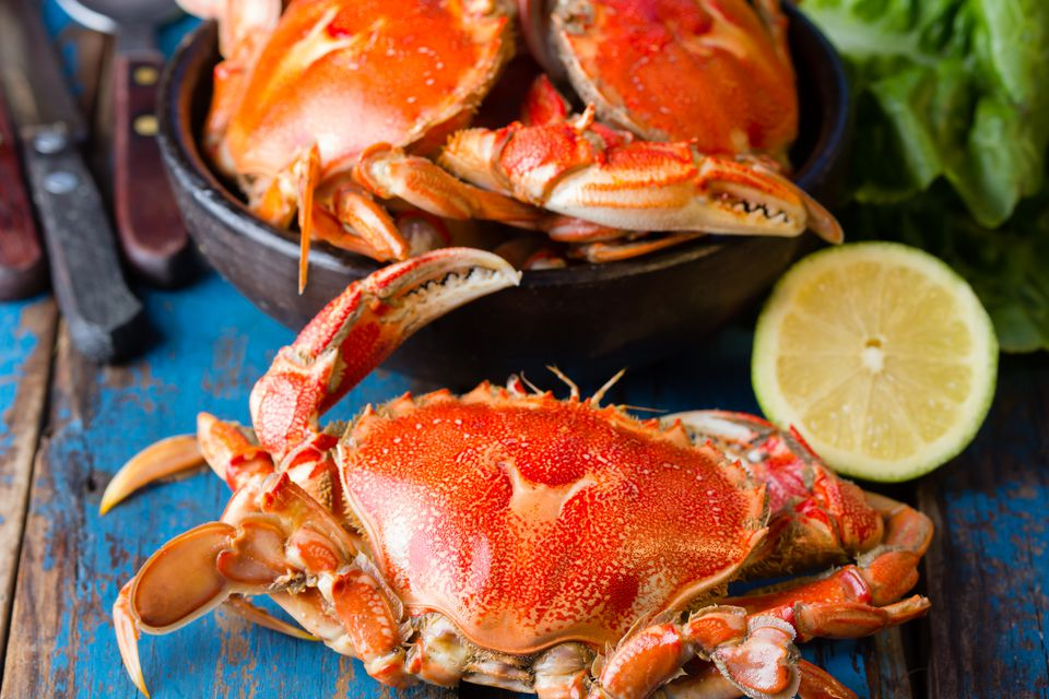 Seafood. Crabs in clay bowl on wooden background