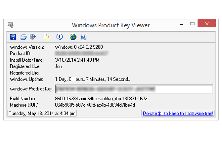 Screenshot of Windows Product Key Viewer in Windows 8