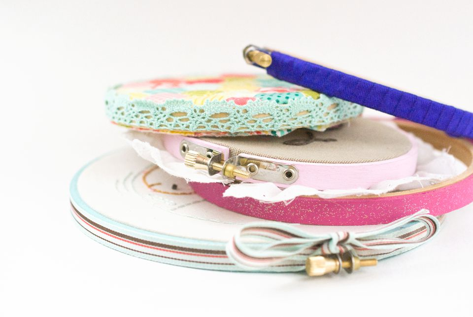 Finish Embroidery Hoop Frames with Embellishments