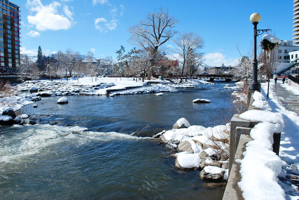 The Truckee River and whitewater park in downtown Reno, taken February 19, 2011.