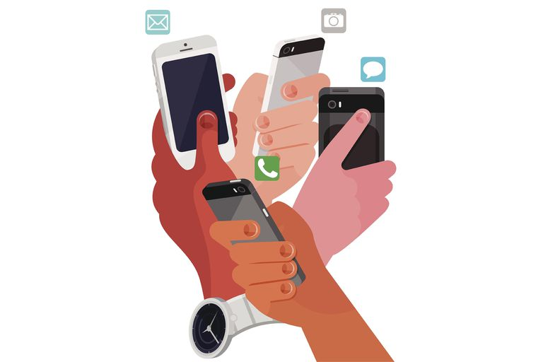 Picture of four hands using smartphones