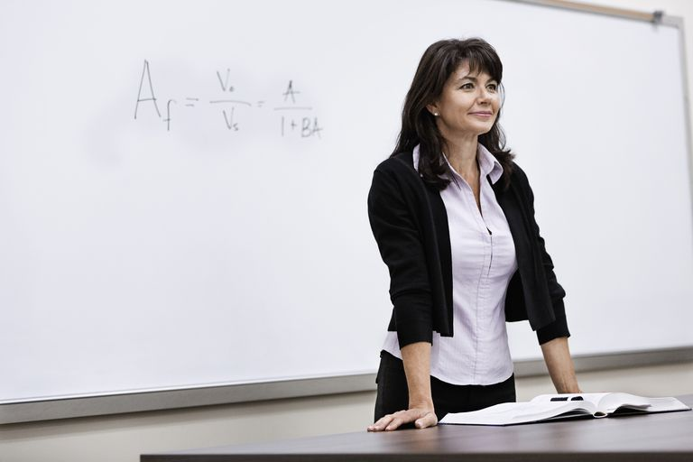Caucasian teacher standing at whiteboard