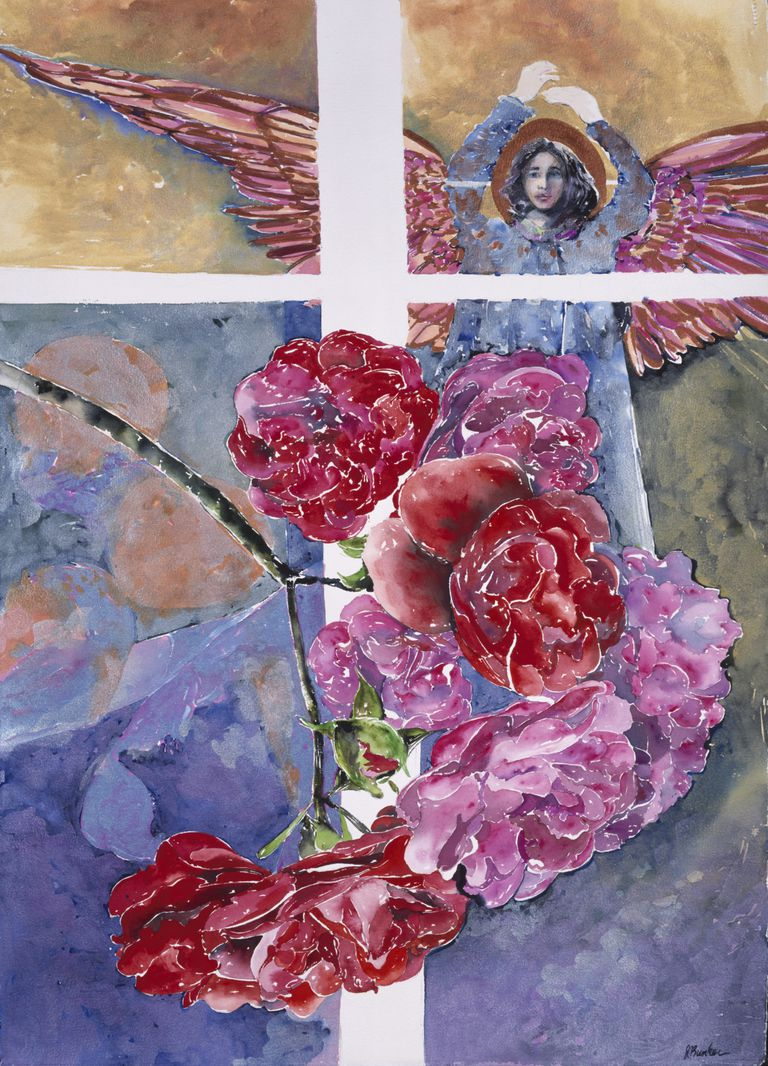 angel with roses flowers