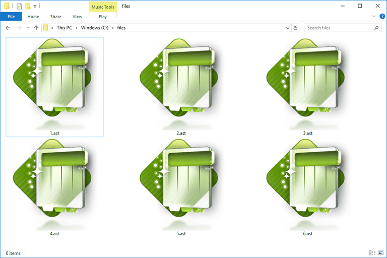 Screenshot of several AST files in Windows 10 that open with Ability Spreadsheet