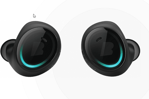 Two black smart earbuds with white background