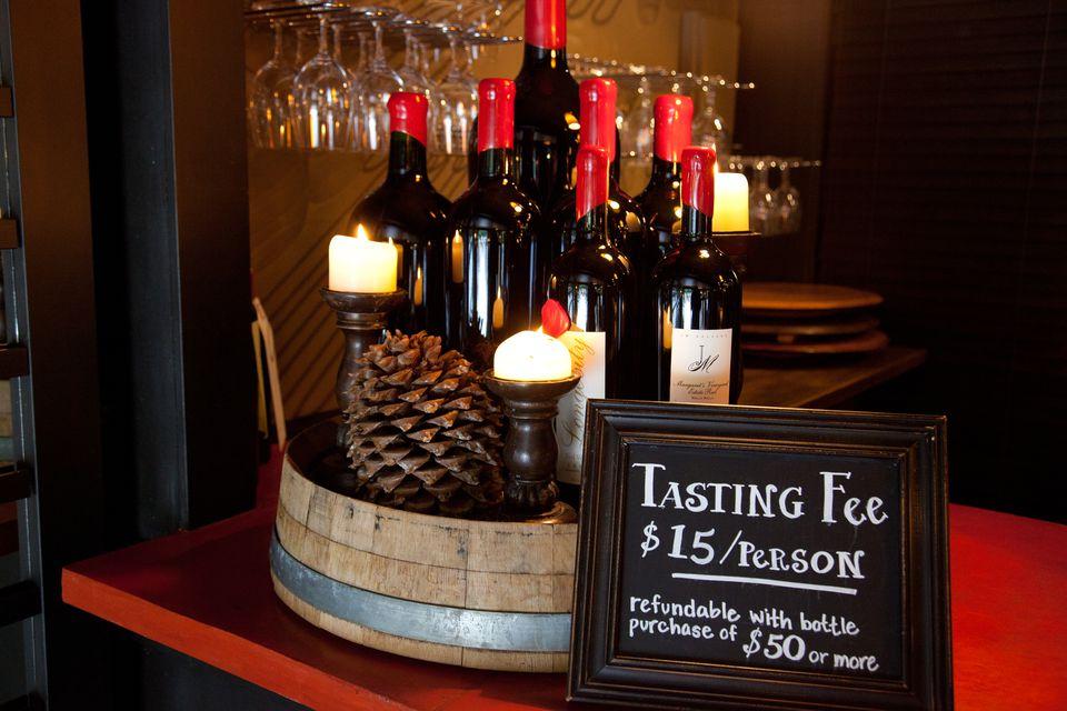 Wine tasing display.