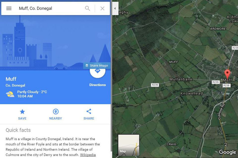 Google will even guide you to Muff ... in County Donegal