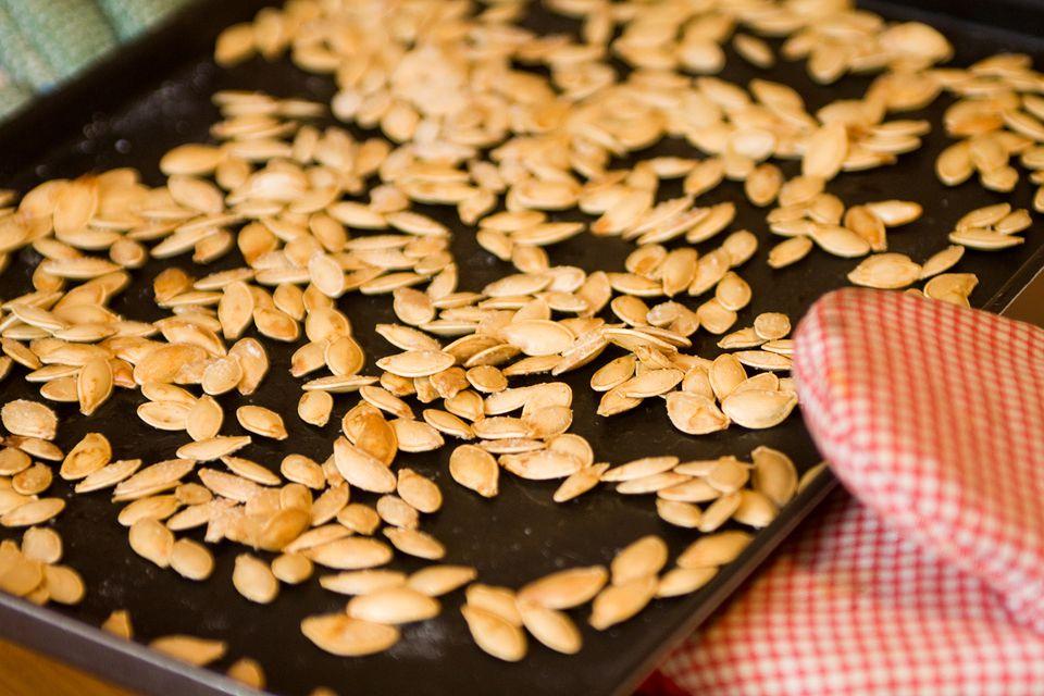Hot roasted pumpkin seeds