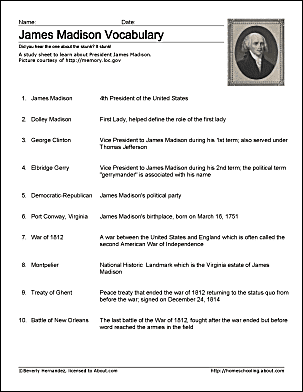 James Madison Vocabulary Study Sheet