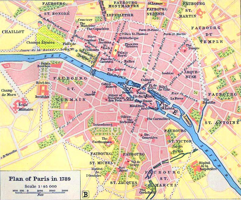 Contemporary And Historical Maps Of Paris France - 1789 map of us