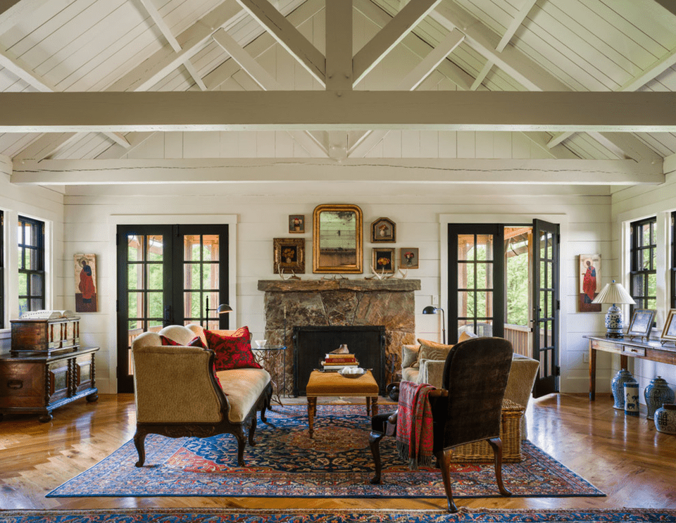 Traditional Elements in a Farmhouse Living Room