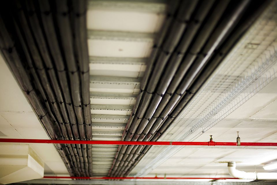 electrical conduit on ceiling.