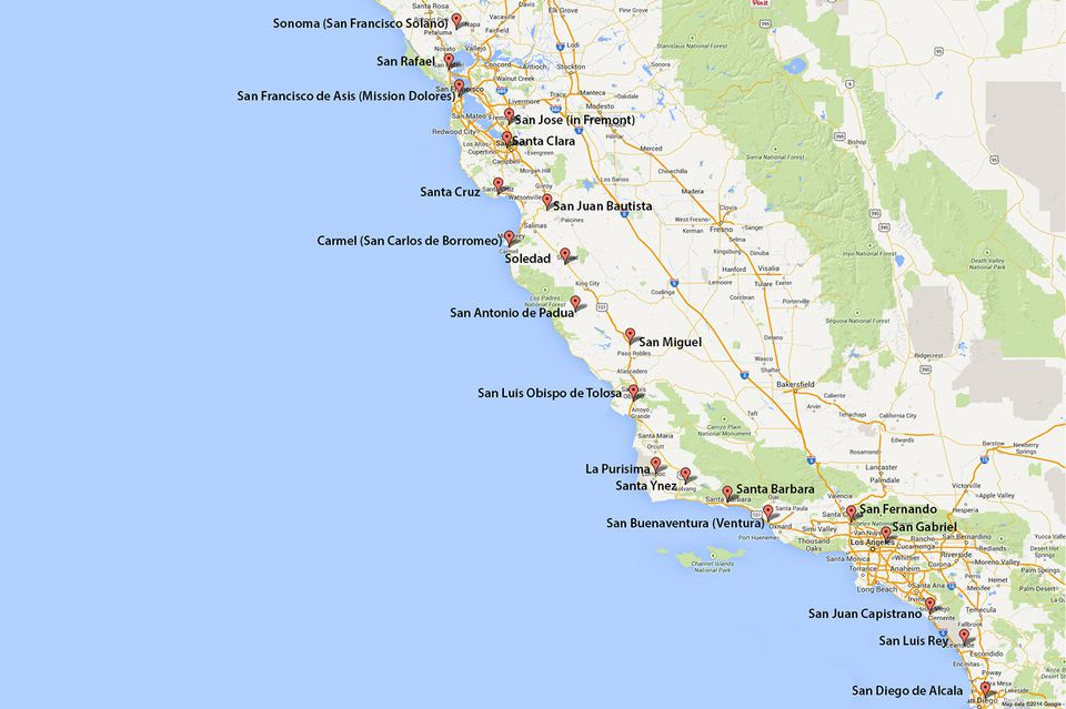 California Missions Map Where To Find Them - Calfornia map