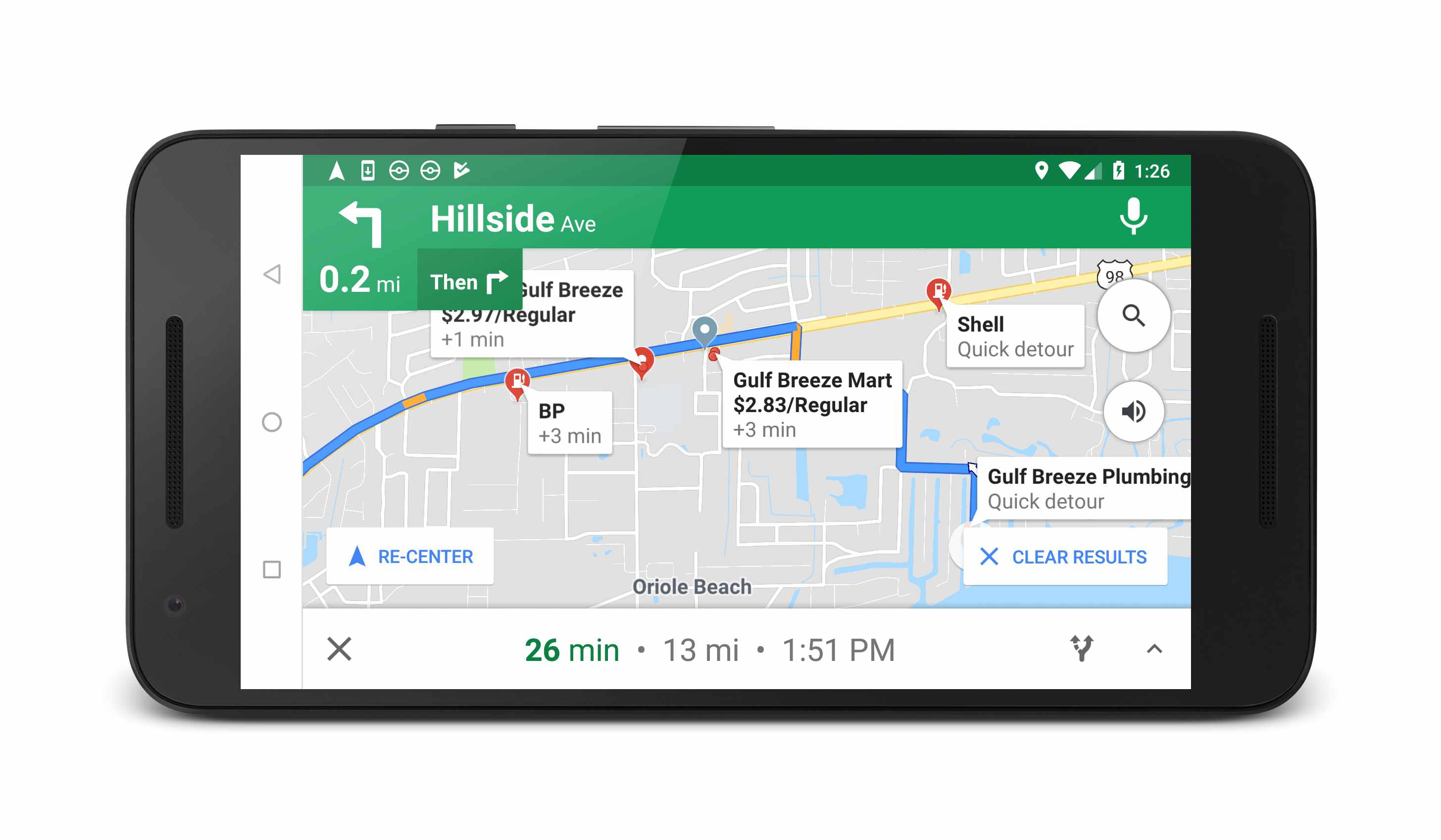 screenshot of google assistant showing gas stations in google maps