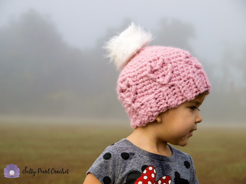 Chunky Cabled Heart Hat Crochet Pattern