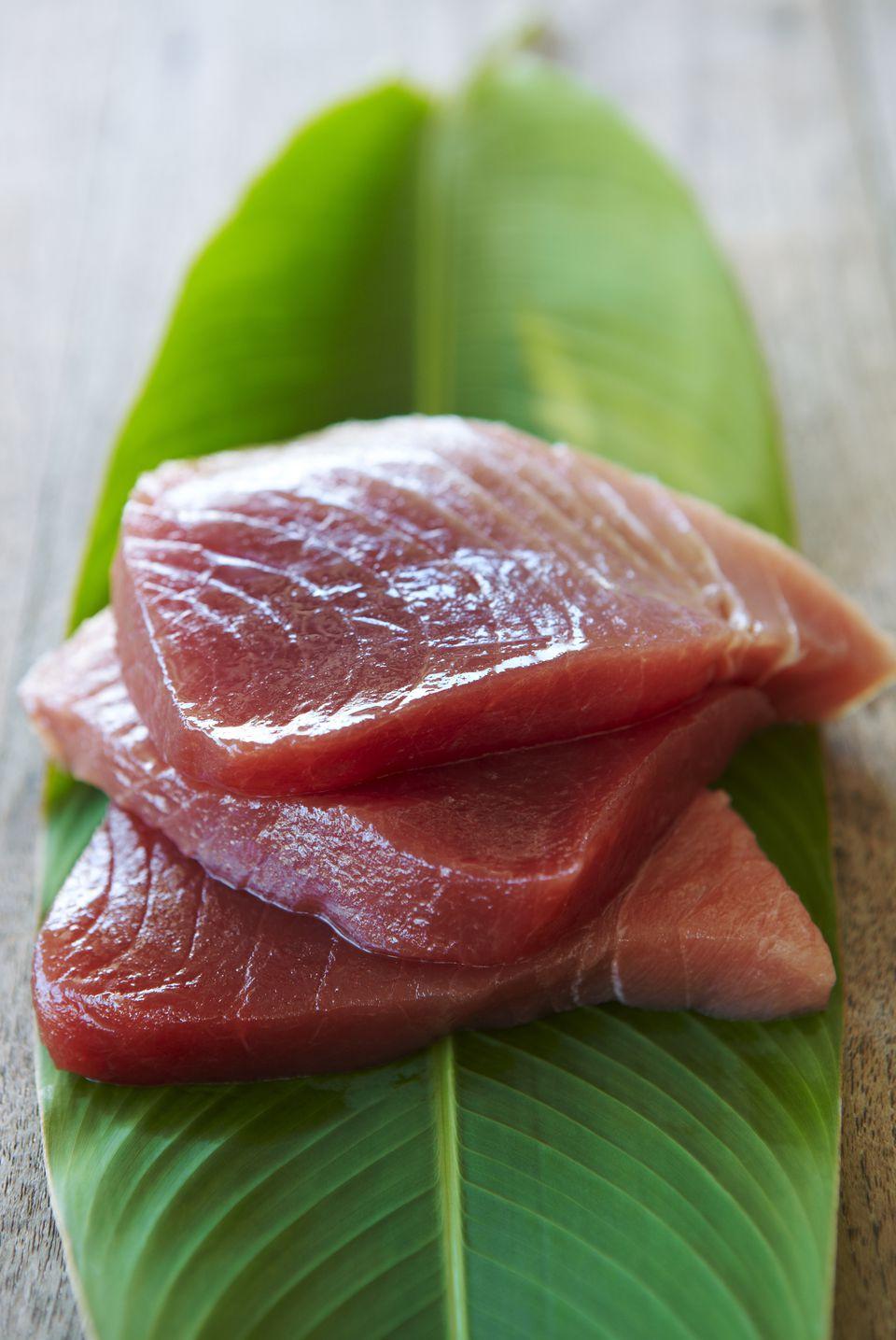 Hawaii, Fresh Sliced Ahi (Tuna) Fish Sashimi On Banana Leaf.