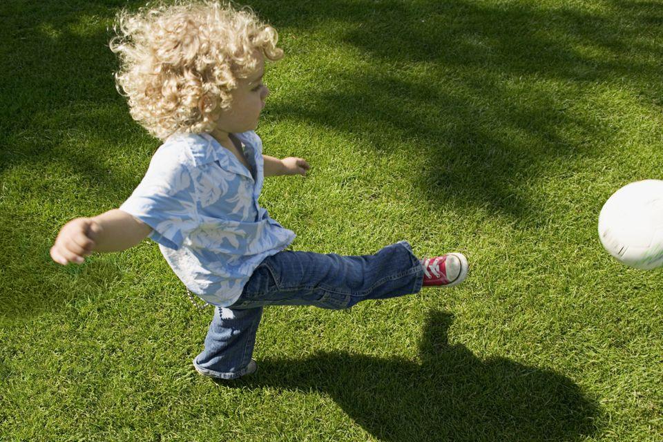 teach the grandchildren to play kickball