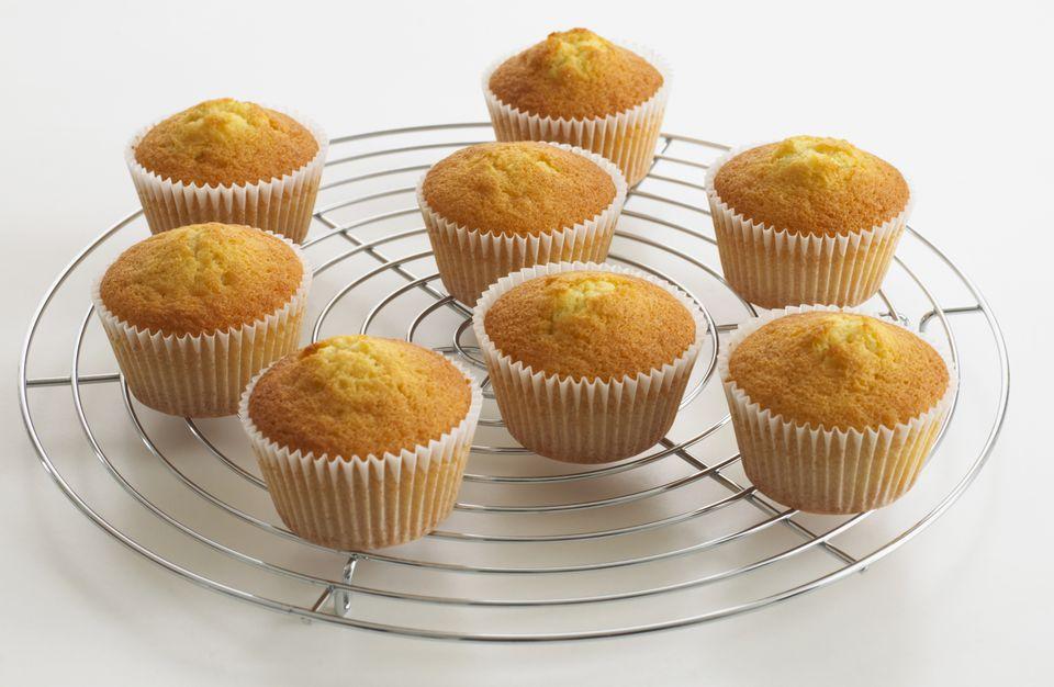 vanilla cupcakes on cooking rack