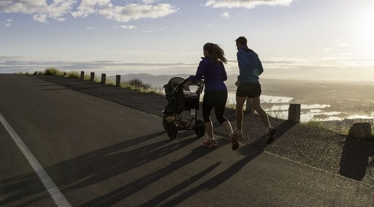 Mom Dad and Baby Sunrise Running