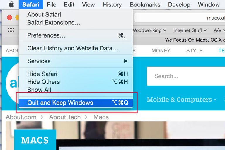Resume option when closing Safari