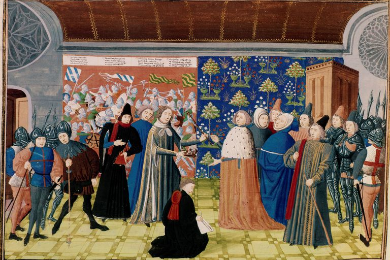 Richard II surrendering crown in 1399